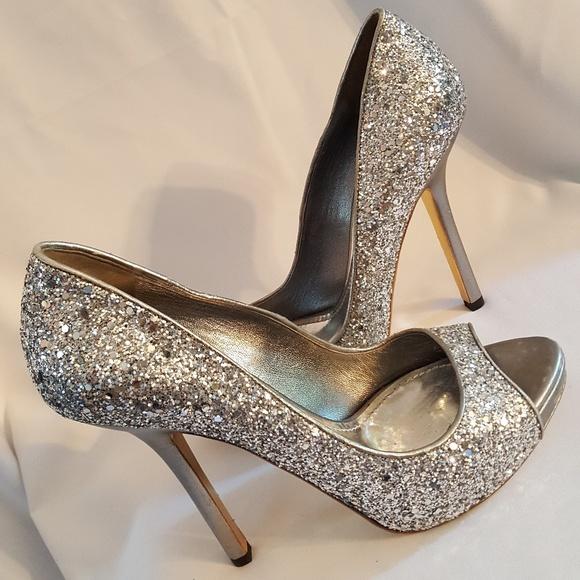 6b6a9885ab Miu Miu silver glitter peep toe heels sz 8 1/2